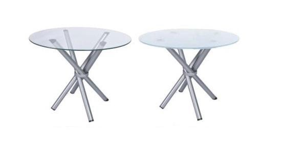 mesa de vidro redondo - base prata em x