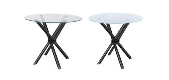 mesa de vidro redondo - base preta em x