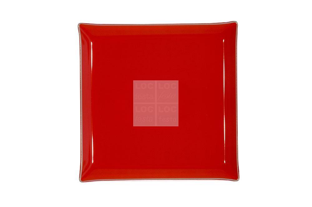 bandeja quad. vidro 35x35 vermelha