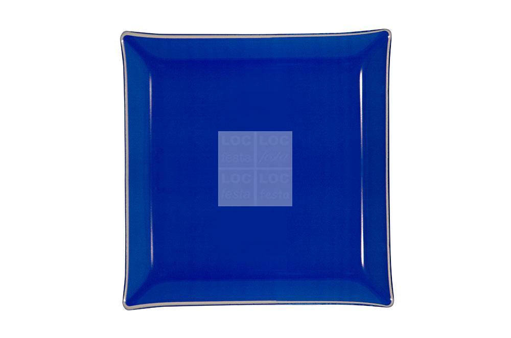 bandeja quad. vidro 35x35 azul