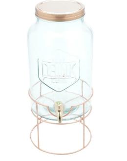suqueira 5.6l de vidro com suporte de cobre