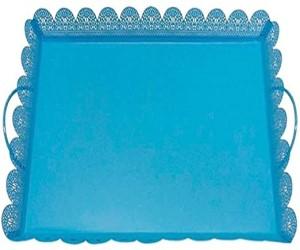 bandeja quadrada azul com borda renda