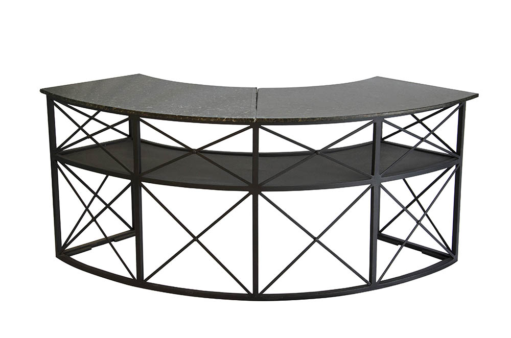 bar ferro curvo gr 2,20 x 0,50 – estrutura e tampo granito preto