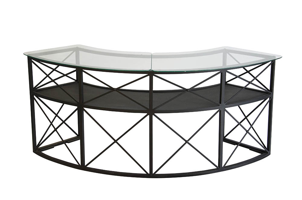 bar ferro curvo gr 2,20 x 0,50 – estrutura e tampo de vidro