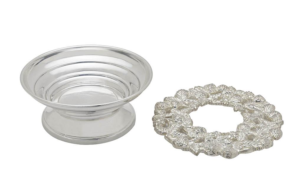 base prata alta e plana p/saladeira