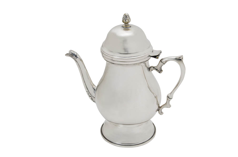 bule café liso c/ pé 1l prata