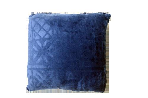 Almofada Quadrada Aveludada Azul