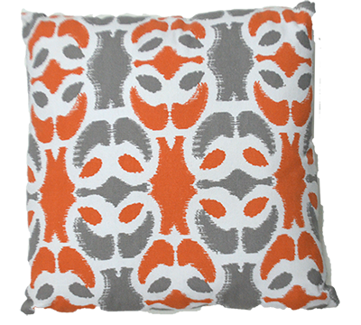 almofada quadrada branco / grafite / laranja