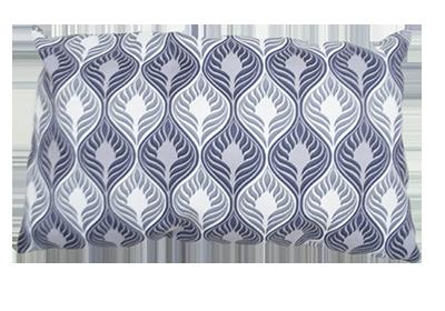 almofada azul e branca