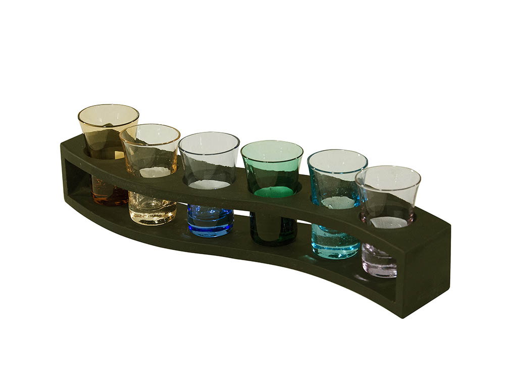 jogo para licor colorido 6 peças base madeira