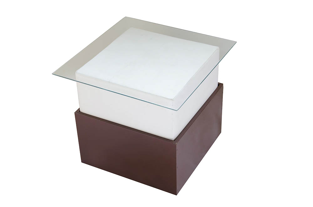 módulo quad. branco com tampo de vidro 60 x 60