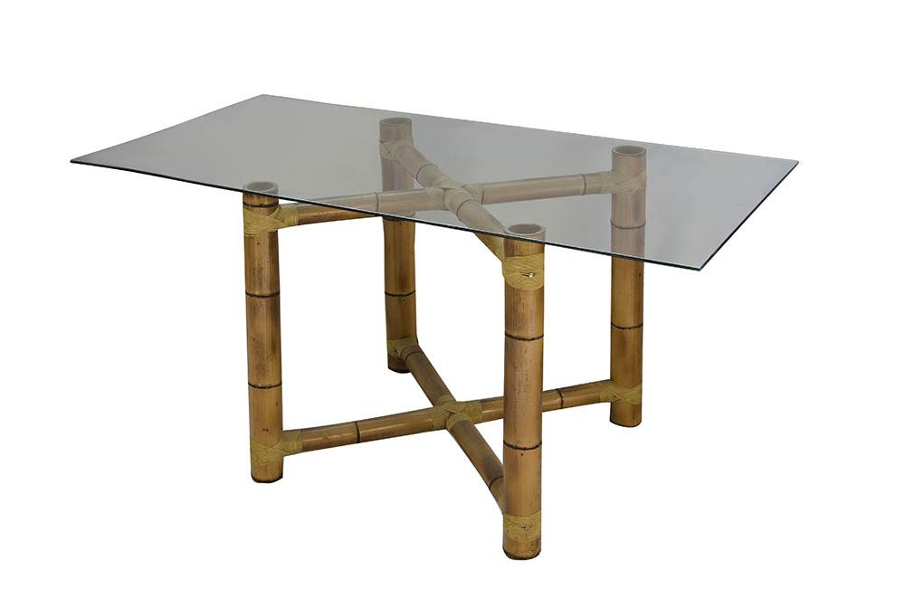 mesa bambu triangular com tampo vidro