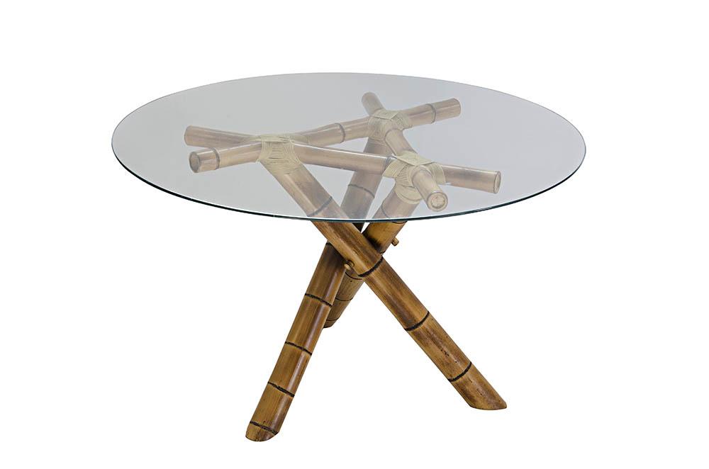 mesa bambu triangular com tampo de vidro