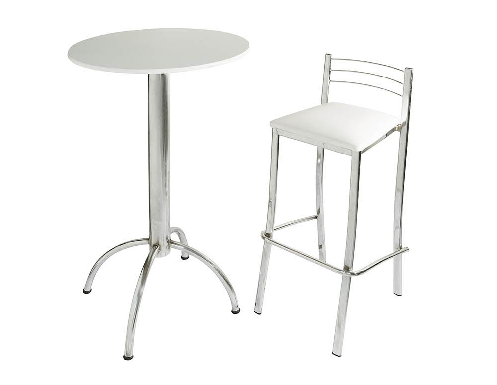 mesa bistrô e banqueta cromada branca
