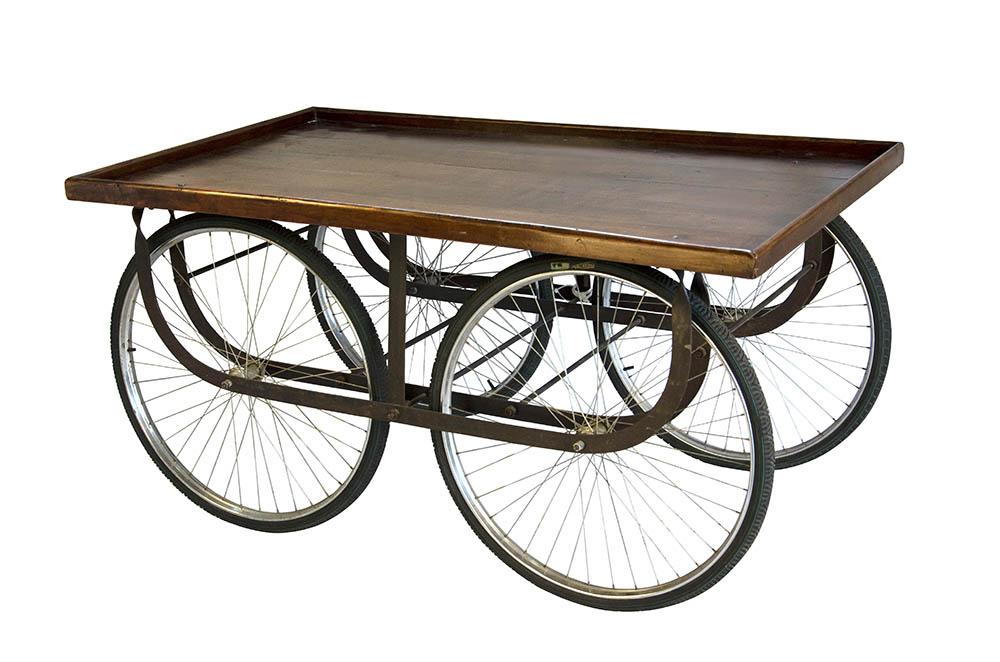 mesa carrinho 4 rodas rústica