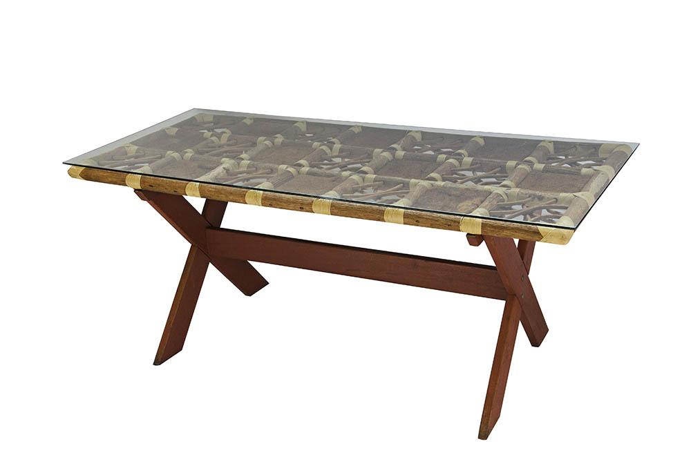 mesa cavalete bambu com tampo de vidro