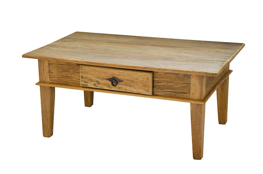 mesa de centro rústica com gaveta