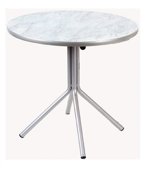 mesa redonda de fórmica com tampo mármore