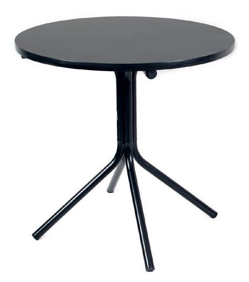 mesa redonda de fórmica com tampo preto