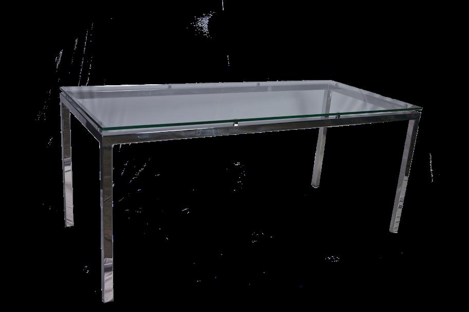 mesa de reunião deluse - vidro retangular