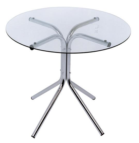 mesa de vidro redondo - base pé de galinha cromada