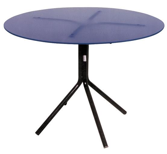 mesa de vidro redondo - base pé de galinha preta