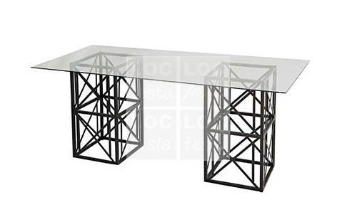 mesa pé ferro estrutura x com tampo vidro