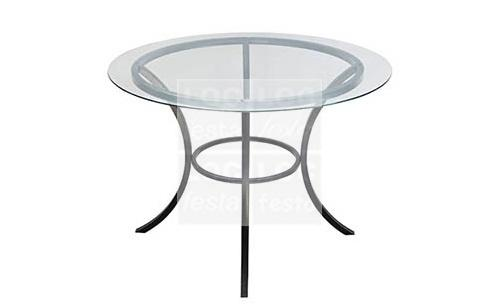 mesa ferro red. estrutura com tampo vidro 1.20m