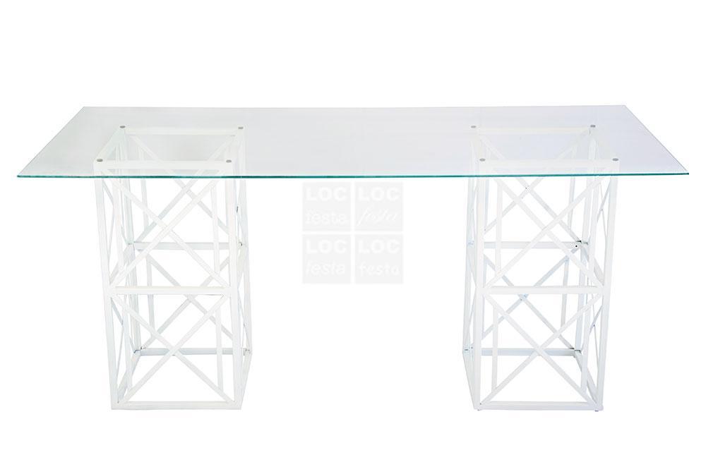 mesa vidro com pé ferro x branco
