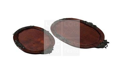 bandeja espelhada com moldura de madeira