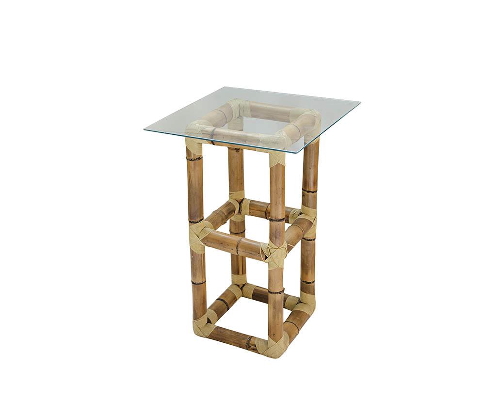 mesa alta de bambu com tampo