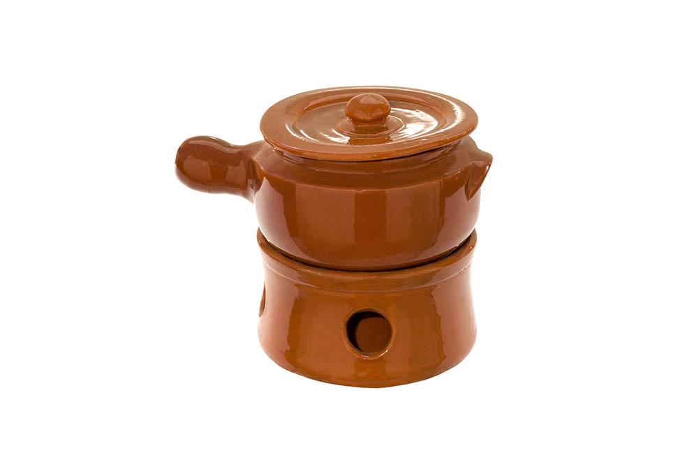 panela e rechaud pequena barro marrom -2 litros c/cabo