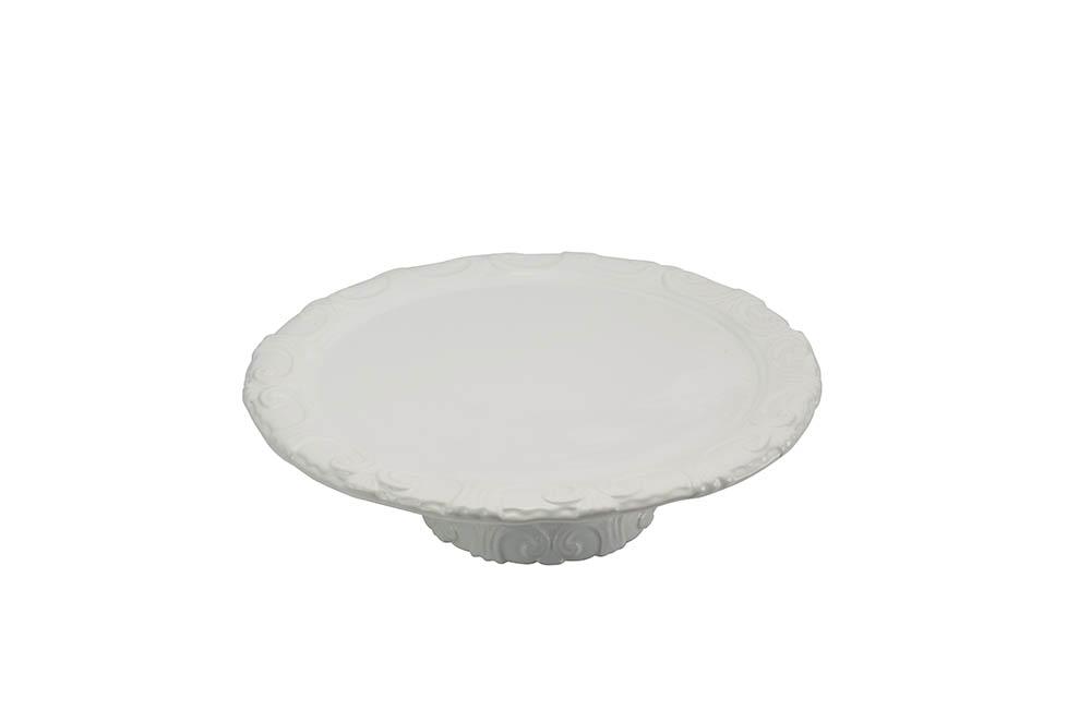 prato bolo c/pé borda br. desenho 0,37cm-alt.10cm