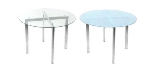 mesa pé quadrado - vidro redondo