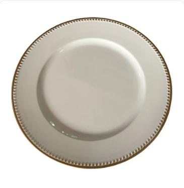 sousplat branco com borda dourada