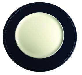 sousplat branco com borda azul marinho