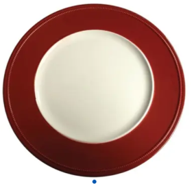 sousplat branco com borda vermelha