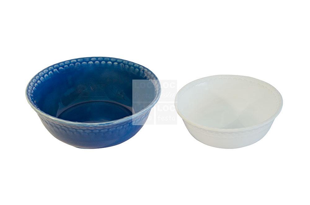 tigela porcelana azul e branca escama