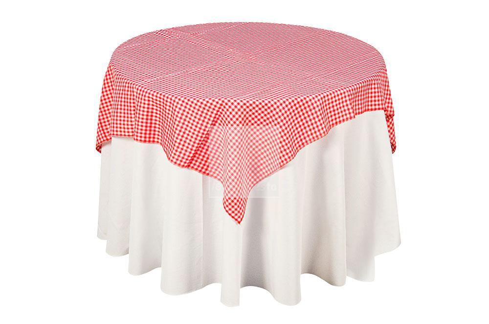 toalha xadrez branca/vermelha