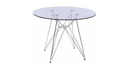 mesa pé torre - vidro redondo