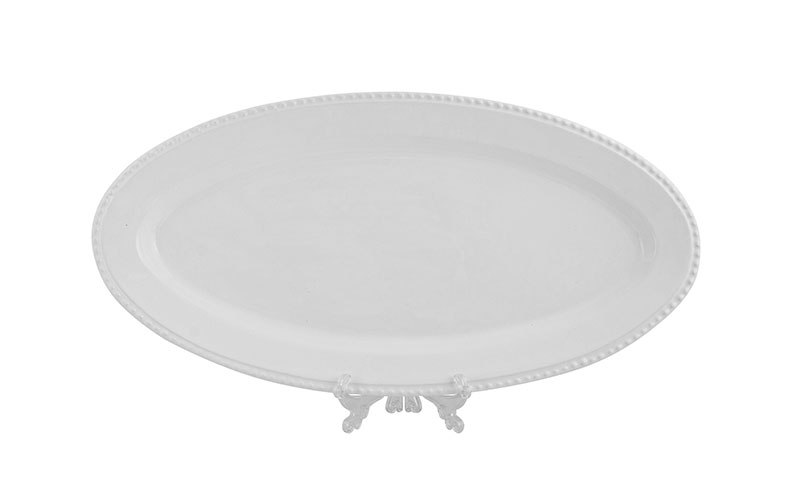 travessa oval 0,66 x 0,33 c/ friso branca